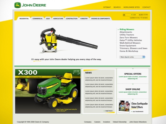 John Deere website redesign